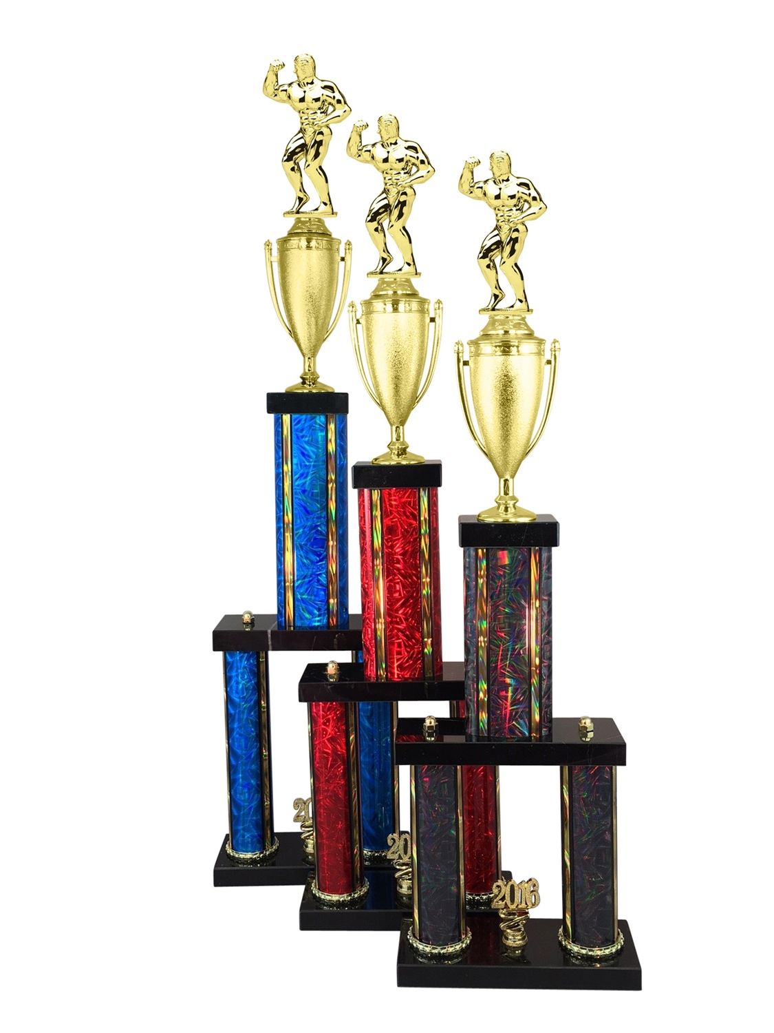 Male Body Building Trophy Available in 11 Color & 6 Size Options