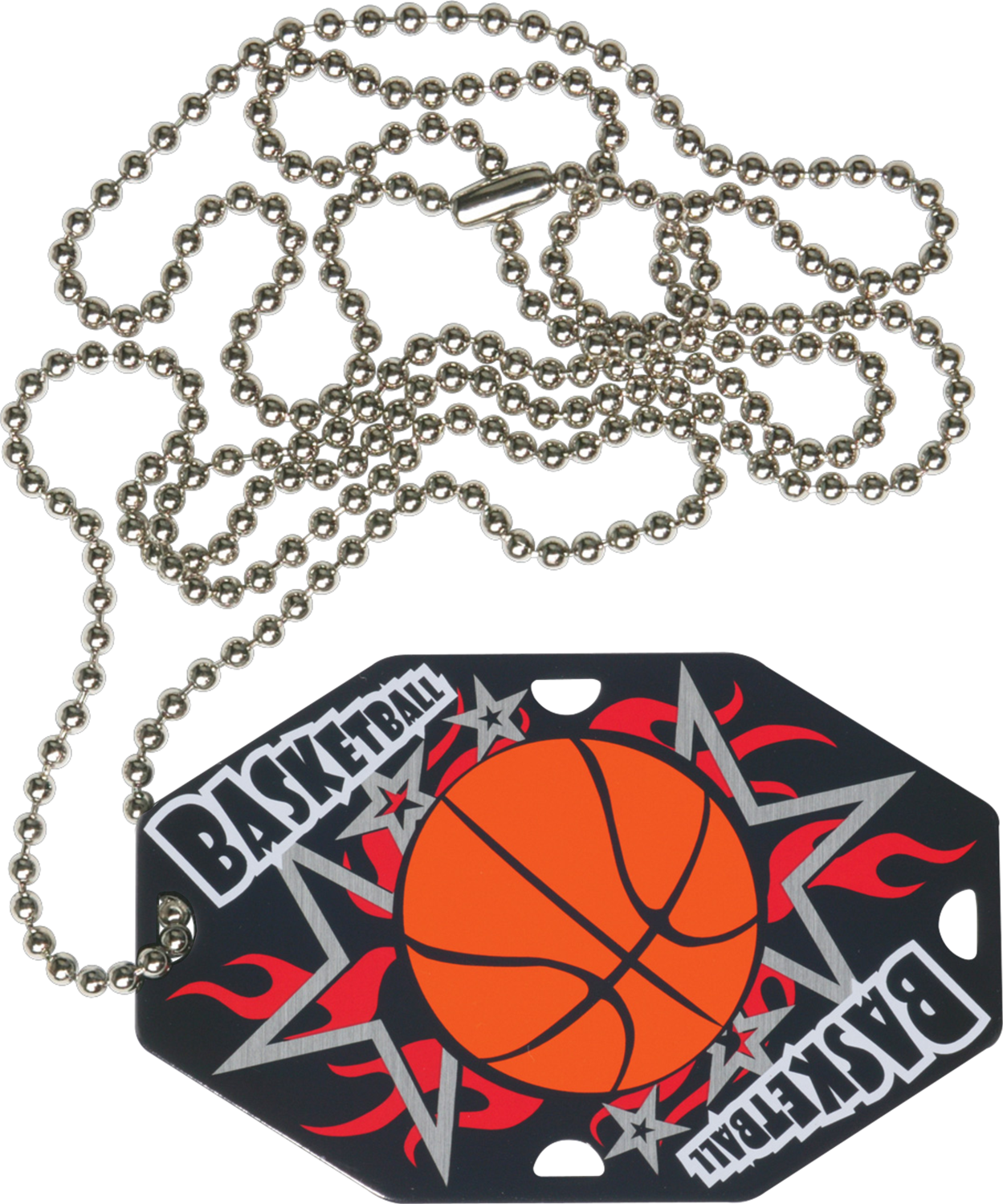 "2-1/2"" x 1-1/2"" Basketball Dog Tag w/Chain 41020-G"