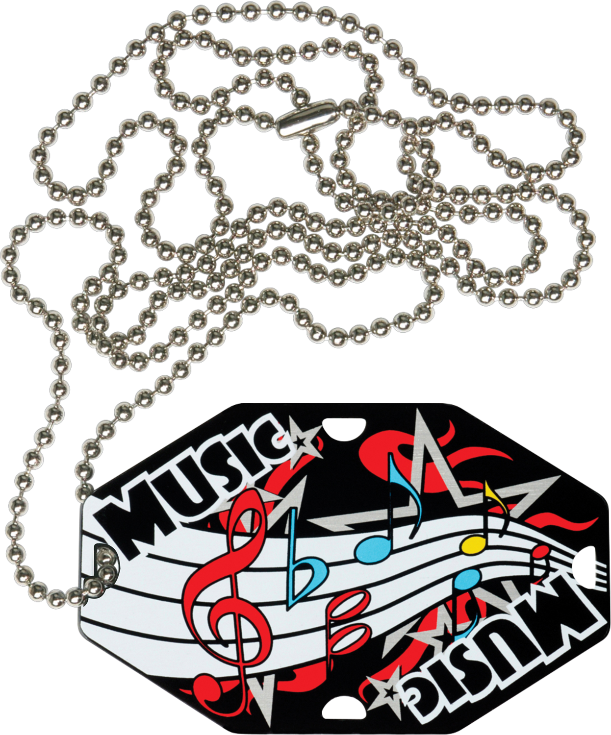 "2-1/2"" x 1-1/2"" Music Dog Tag w/Chain 41120-G"