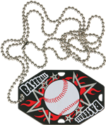 "2-1/2"" x 1-1/2"" Baseball Dog Tag w/Chain 41130-G"