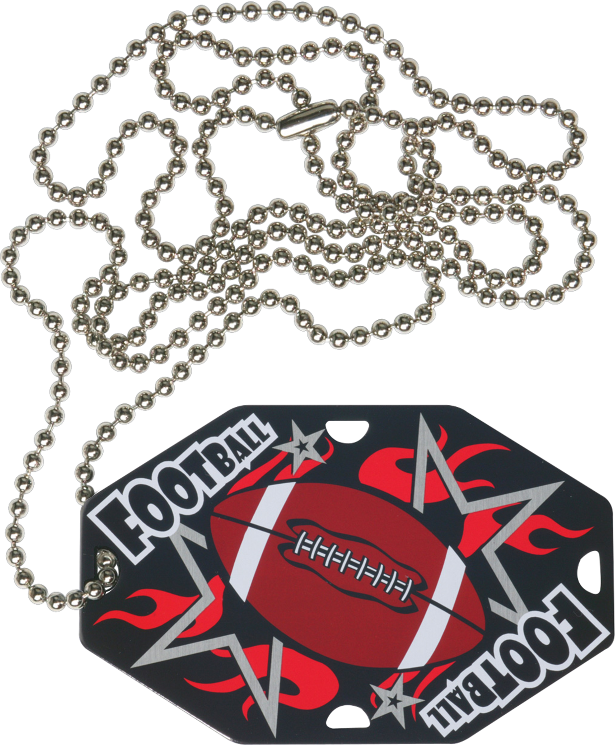 "2-1/2"" x 1-1/2"" Football Dog Tag w/Chain 41140-G"