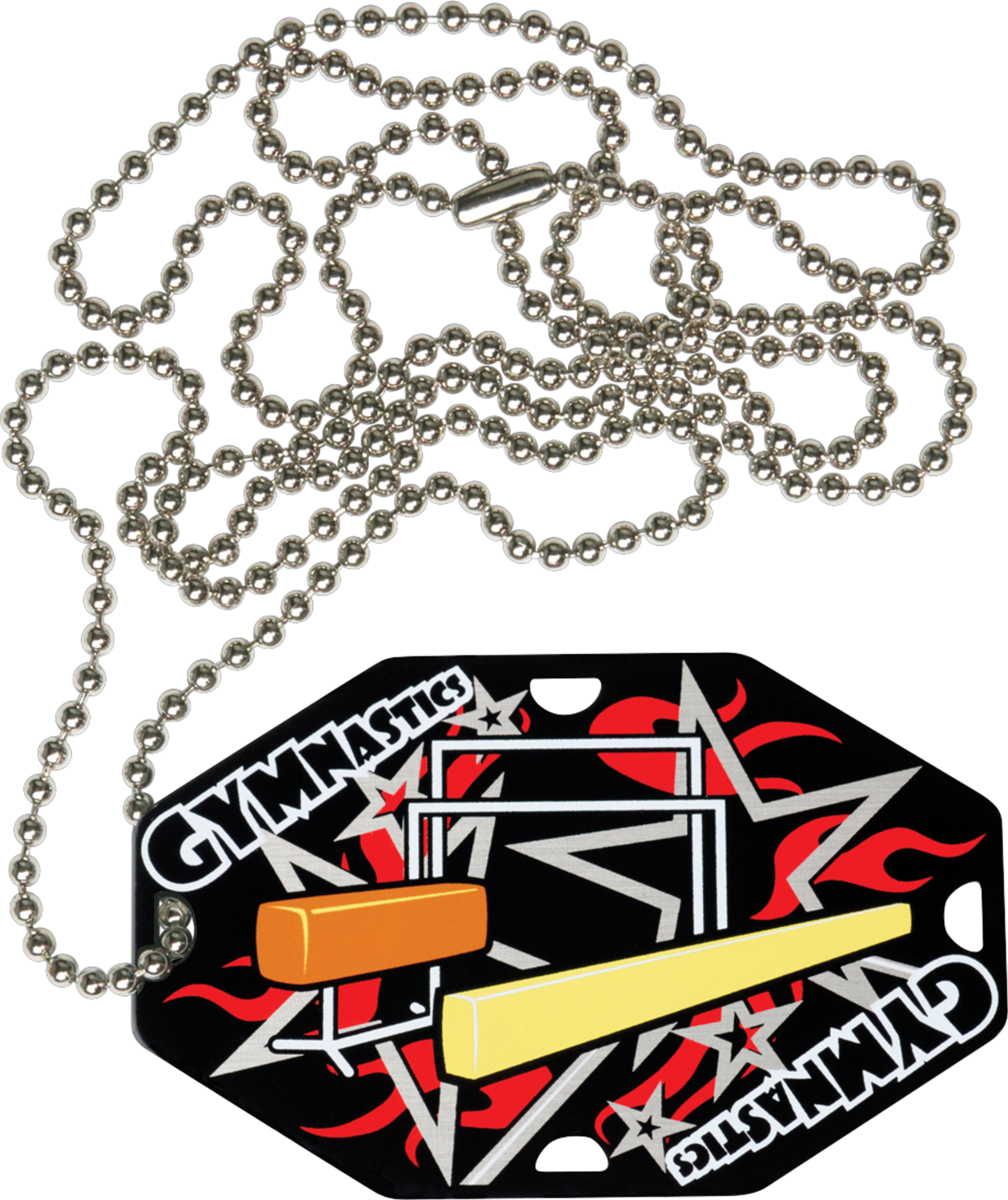 "2-1/2"" x 1-1/2"" Gymnastics Dog Tag w/Chain 41180-G"