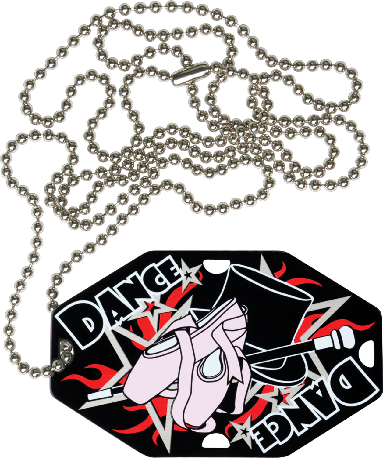 "2-1/2"" x 1-1/2"" Dance Dog Tag w/Chain 41656-G"