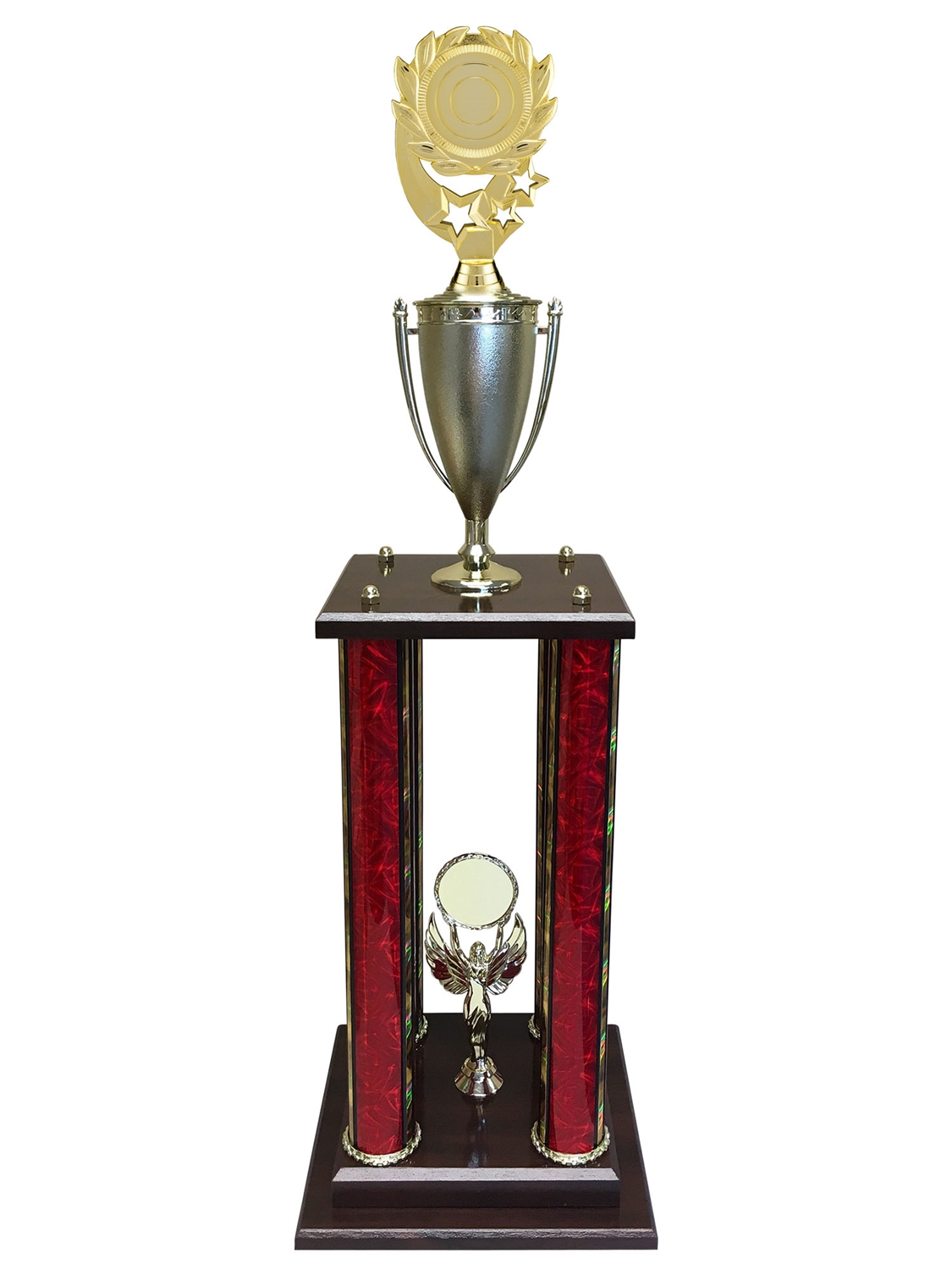 "4 Post Blank 3"" Insert Holder Trophy in 11 colors & 3 sizes"