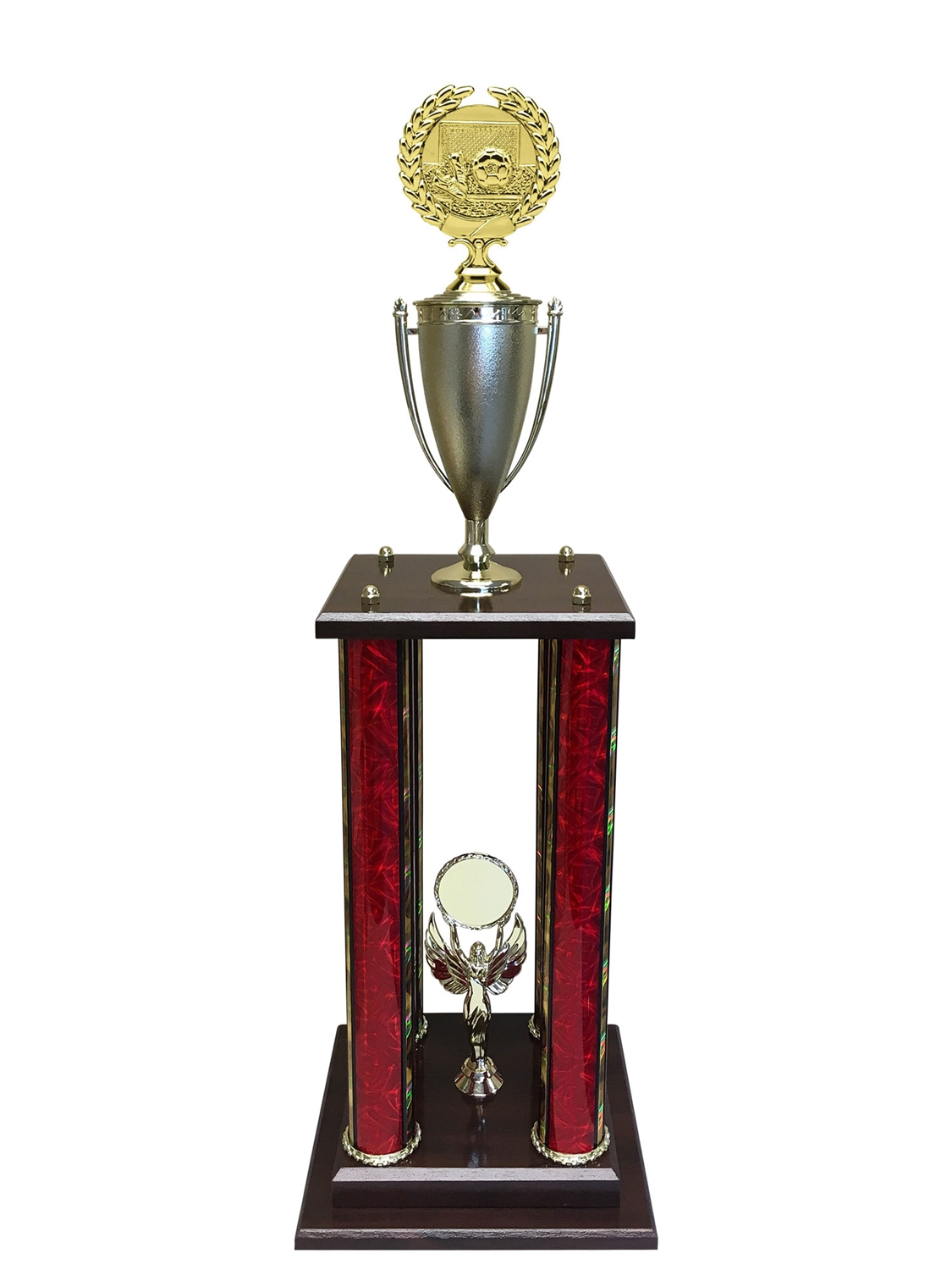 4 Post Soccer Trophy in 11 colors & 3 sizes
