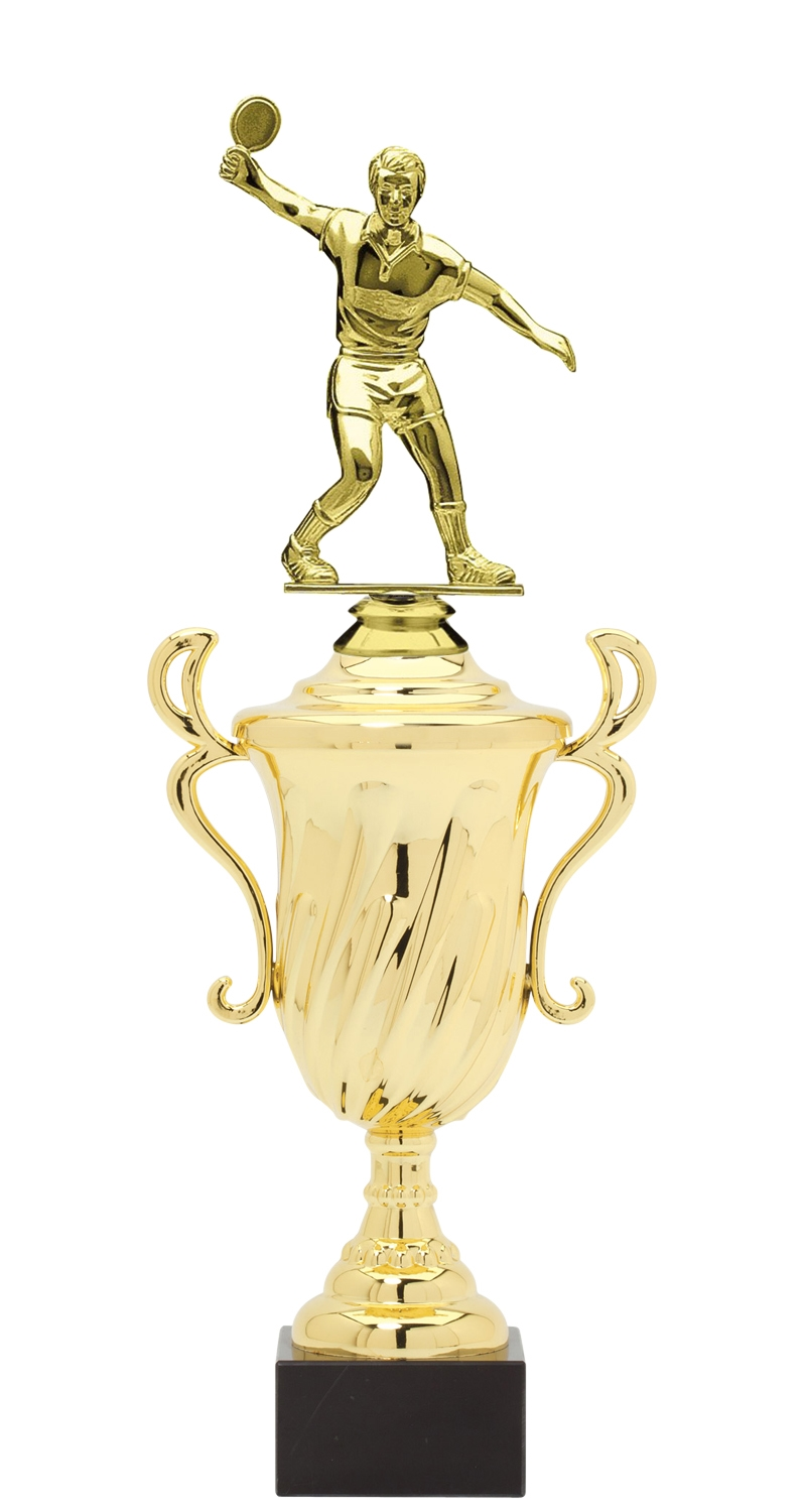 Male Ping Pong Trophy Cup on synthetic base in (3 - Sizes)