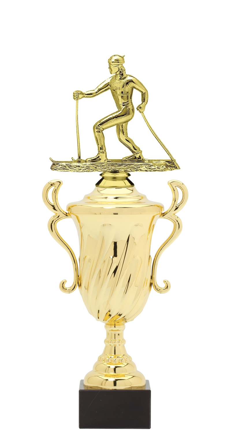 Cross Country Ski Plastic Loving Cup Trophy on Marble Base (3 - Sizes)