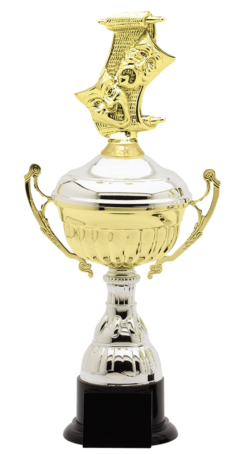 Metal Drama Trophy Cup on Synthetic Base in (3 - Sizes)