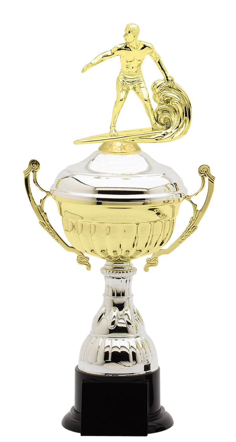 Metal Surfing Trophy Cup on Synthetic Base in (3 - Sizes)