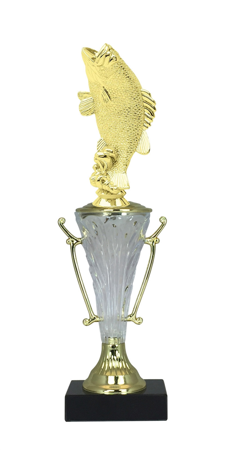 Bass Fishing Trophy Cup on Marble Base in (2 - Sizes)