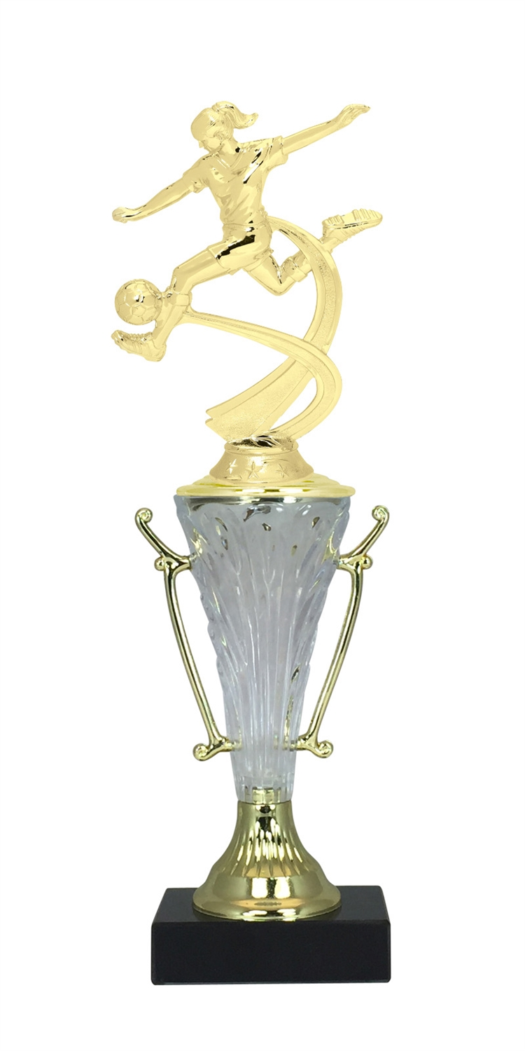 Girls Soccer Trophy Cup on Marble Base in (2 - Sizes)