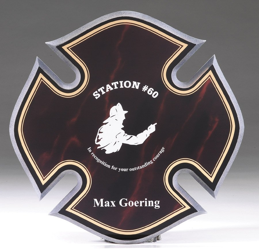 Maltese Cross Fireman Acrylic Award Red