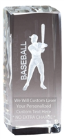 "4-1/2"" x 2"" Male Baseball Crystal Award"