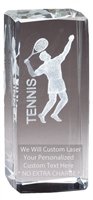 "4-1/2"" x 2"" Male Tennis Crystal Award"