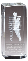 "4-1/2"" x 2"" Male Volleyball Crystal Award"