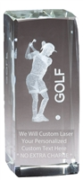 "4-1/2"" x 2"" Female Golf Crystal Award"