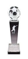 "8-3/4"" x 2-1/2"" Male Soccer Sport Ball Crystal Award"
