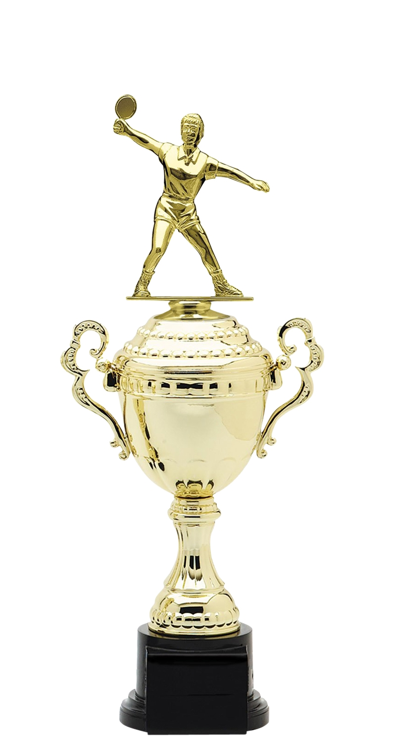 Female Ping Pong Trophy Cup on synthetic base in (6 - Sizes)