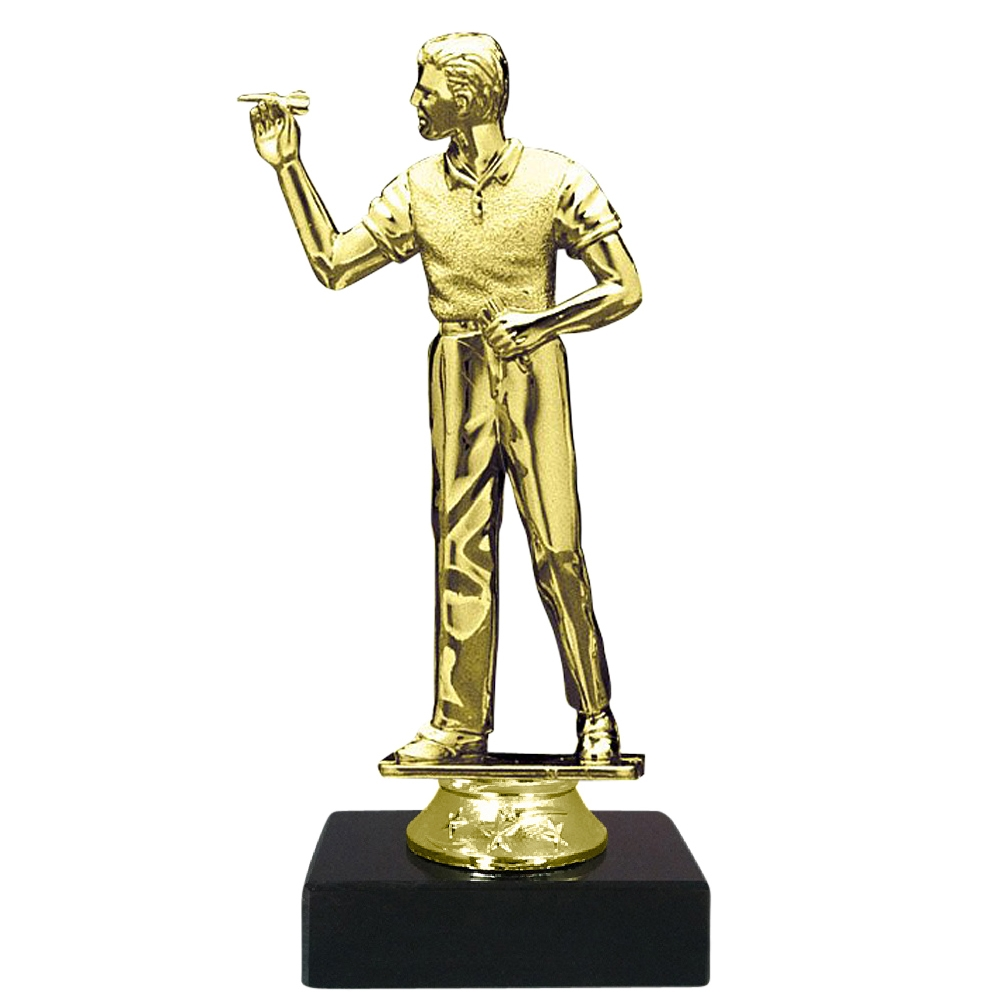 Male Darts Figure on Marble Base Trophy