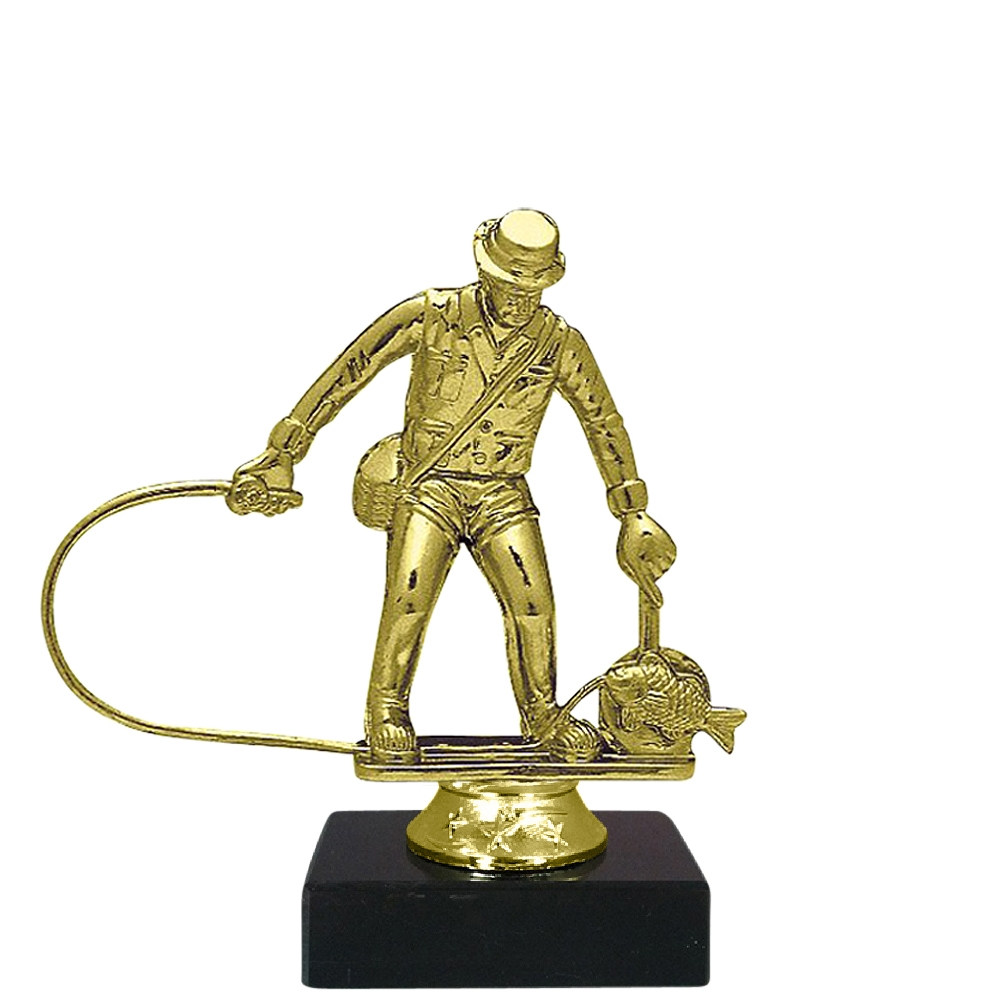 Fly Fishing Figure on Marble Base Trophy