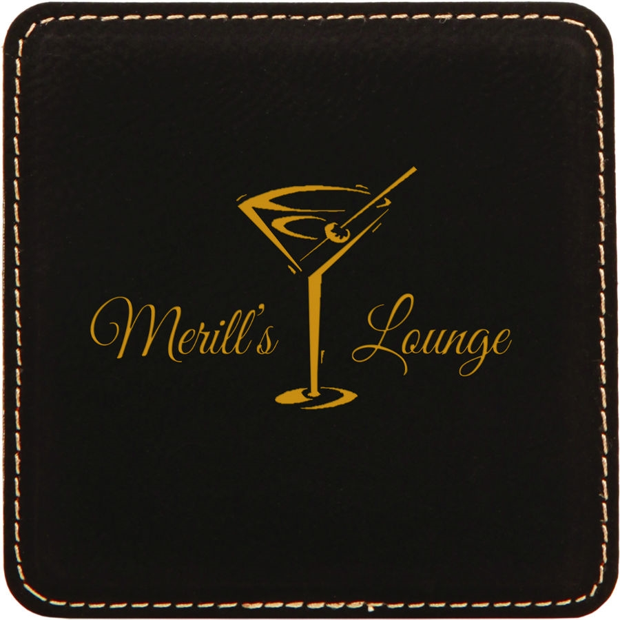 Black Leatherette Coaster