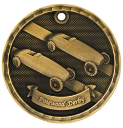 "2"" 3D Pinewood Derby Medal"