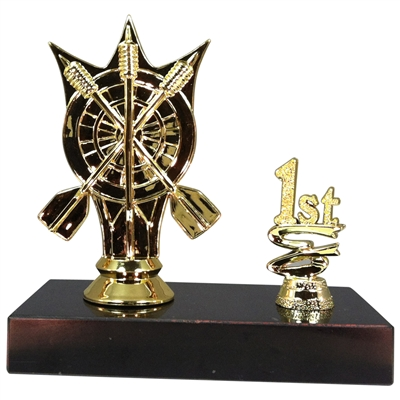 1st 2nd 3rd Place Darts Figure Trophy Marble Base Trophy