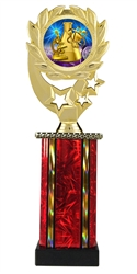 Moonbeam Wreath Science Fair Epoxy Dome Trophy in 11 Colors - in 3 Sizes