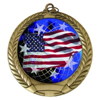 "2-3/4"" American Flag Holographic Mylar Medal MM292-FCL-570"