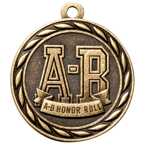 "2"" Scholastic A-B Honor Roll Medal MS312"