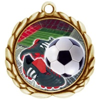 "2-1/2"" Wreath Color Insert Soccer Cleat Medal O32A-FCL-41"