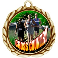 "2-1/2"" Wreath Color Insert Male X-Country Medal O32A-FCL-447"