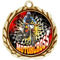 "2-1/2"" Wreath Color Insert Motorcross Medal O32A-FCL-515"