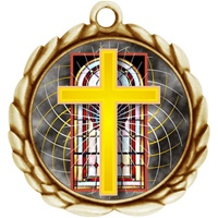 "2-1/2"" Wreath Color Insert Religious Cross Medal O32A-FCL-528"