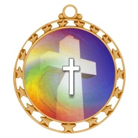 "2-1/2"" Superstar Color Insert Religious Cross Medal O34A-FCL-36"