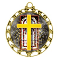 "2-1/2"" Superstar Color Insert Religious Cross Medal O34A-FCL-528"