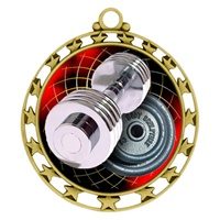 "2-1/2"" Superstar Color Insert Weight Lifting Medal O34A-FCL-574"