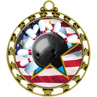 "2-1/2"" Superstar Flag Bowling Medal O34A-FCL-706"