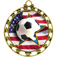 "2-1/2"" Superstar Flag Soccer Medal O34A-FCL-726"