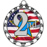 "2-1/2"" Superstar Flag 2nd Place Medal O34A-FCL-742"