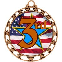 "2-1/2"" Superstar Flag 3rd Place Medal O34A-FCL-743"