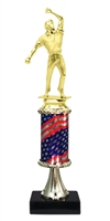 Pedestal Round Flag Column Cricket Bowler Trophy