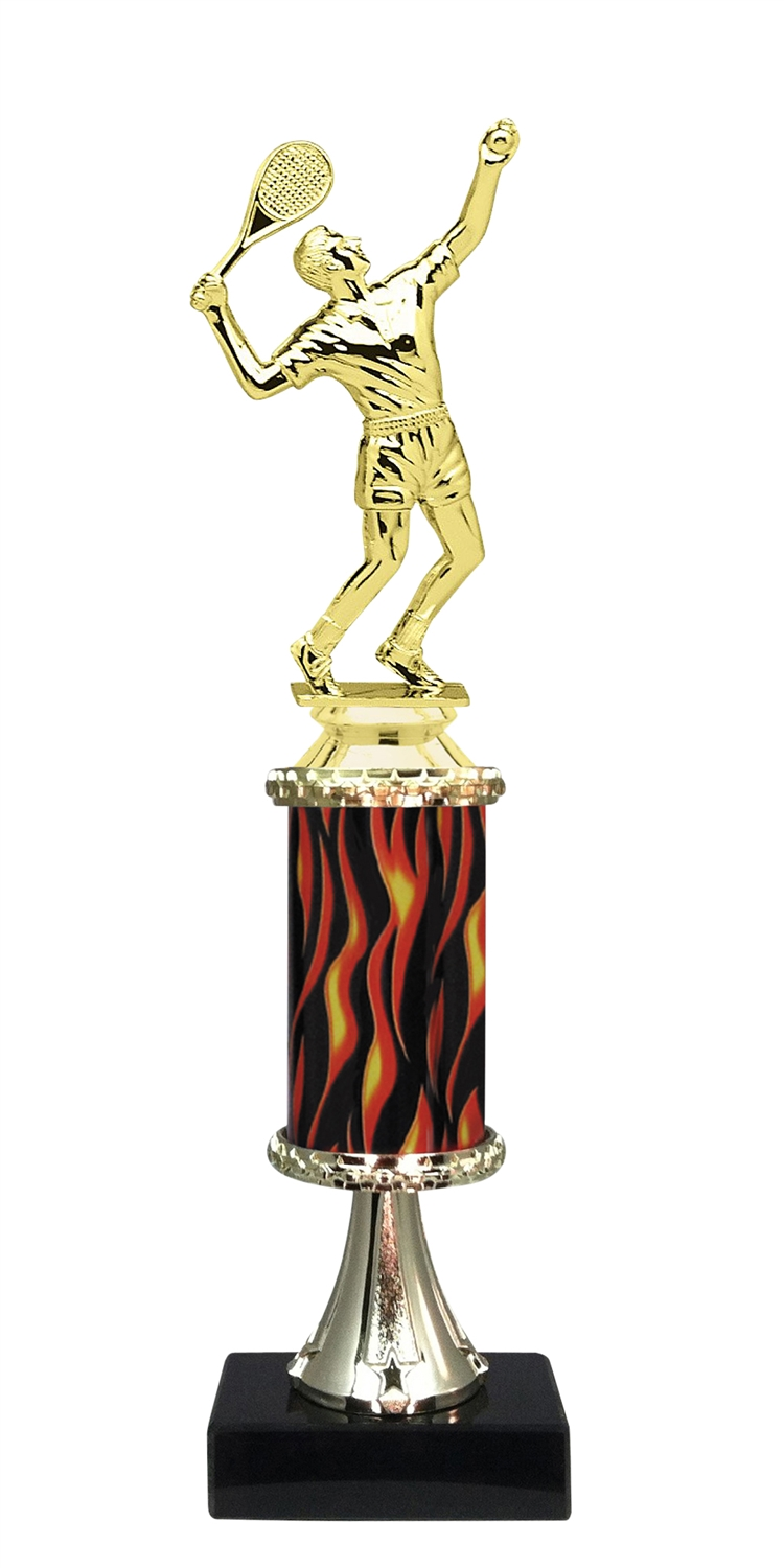 Male Tennis Trophy on Marble Base
