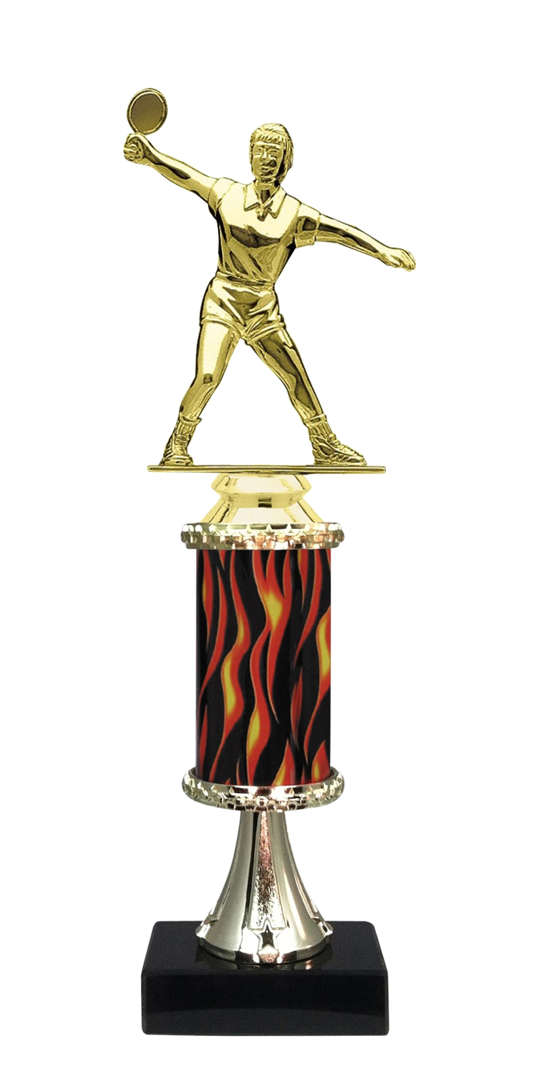 Female Ping Pong Trophy on Marble Base