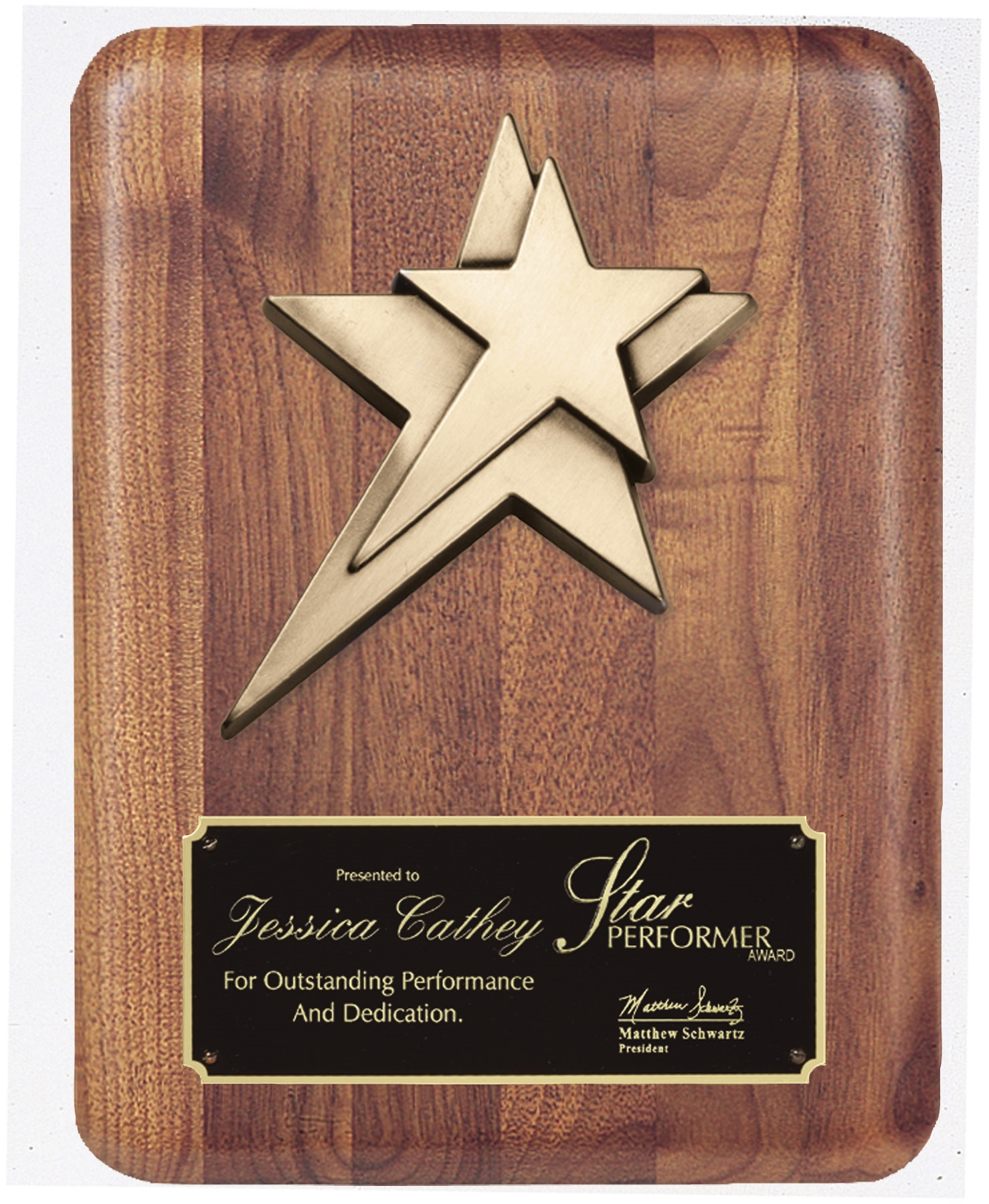 8 x 10 American Walnut Plaque with Star