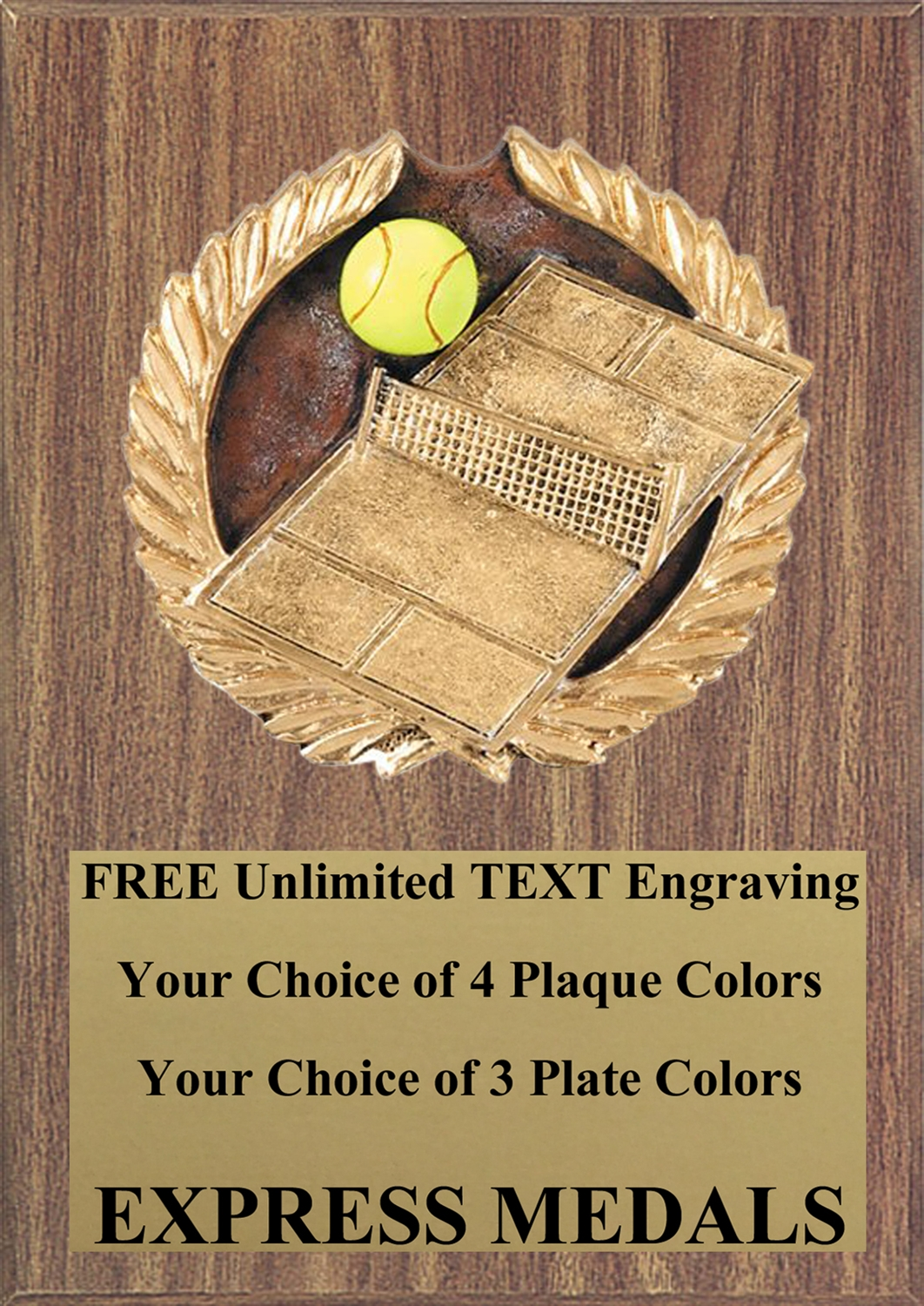 Full Color Tennis Plaque 4x6 & 5x7 PM662-VL