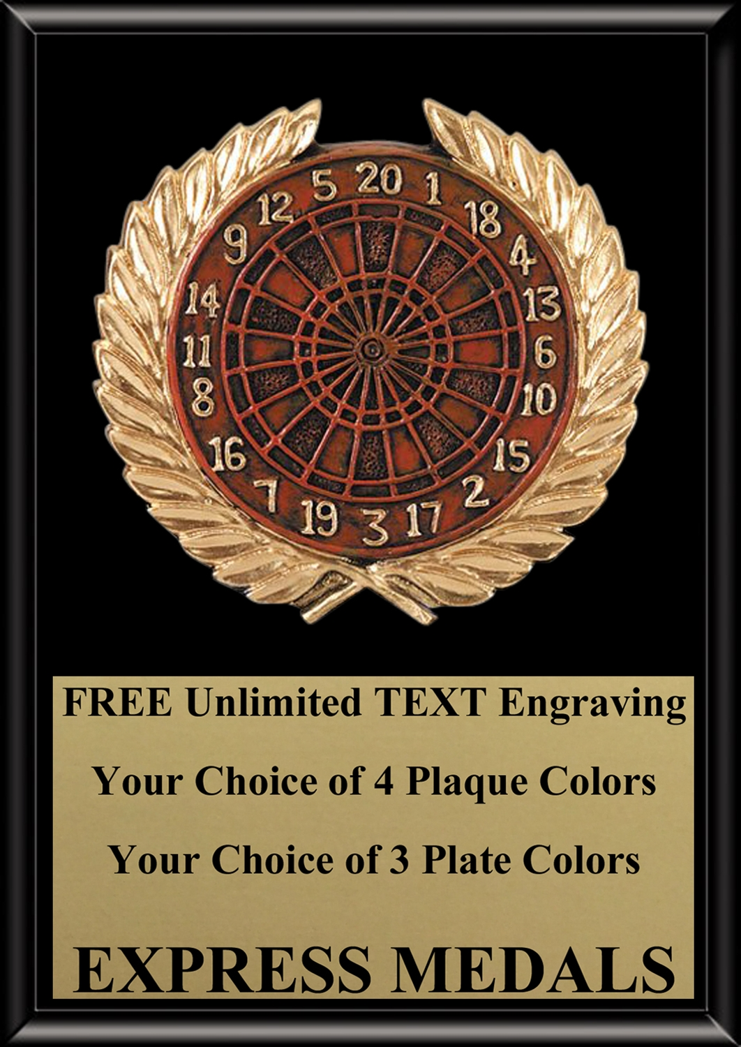 Full Color Darts Plaque 4x6 & 5x7 PM665-VL