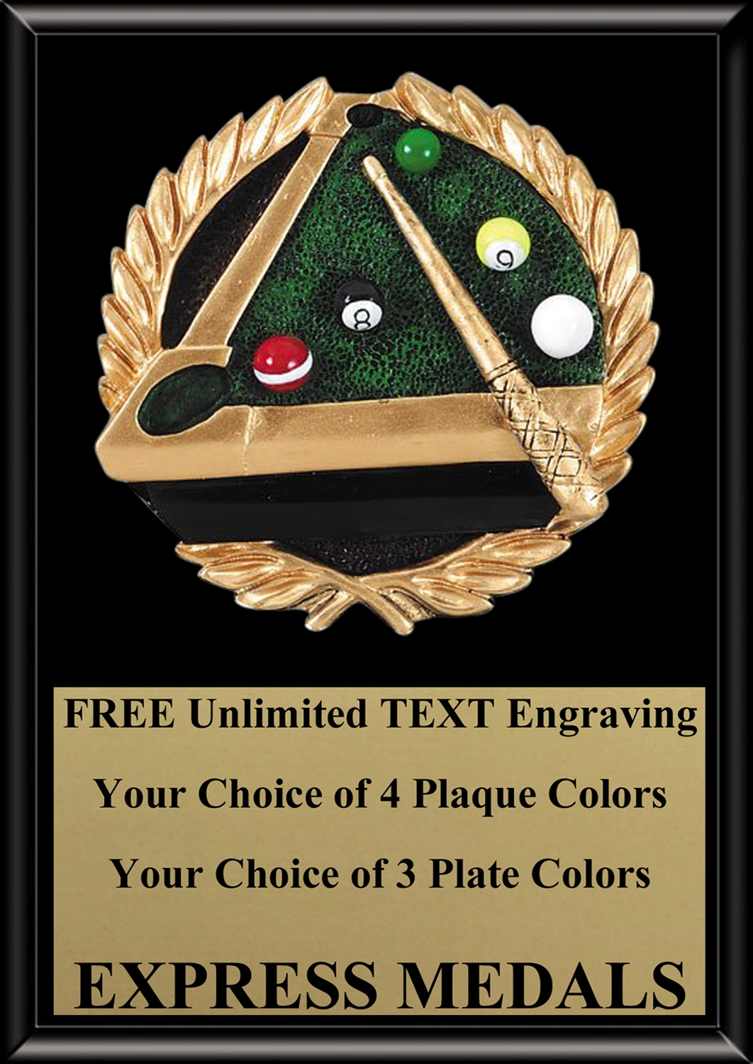 Full Color Billiards Plaque 4x6 & 5x7 PM667-VL