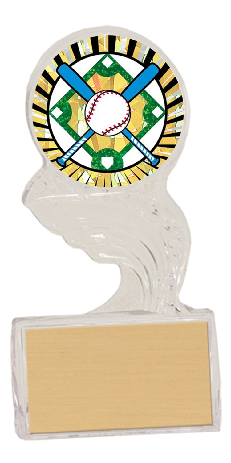 Crossed Bats Baseball Trophy Cup