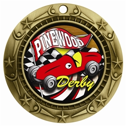 "3"" WCM Full Color Pinewood Derby Medal WCMB-FCL527"